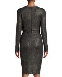 Talbot Runhof Black Rodigo Long-sleeve V-neck Glitter-jersey Fitted Cocktail Dress
