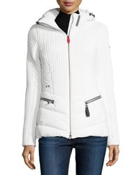 Post Card White Hooded Quilted Down Jacket