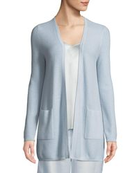 Neiman Marcus - Blue Cashmere Waffle-knit Open-front Cardigan - Lyst