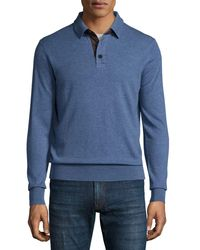 Neiman Marcus | Blue Cashmere Long-sleeve Polo Sweater for Men | Lyst