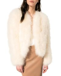 Lamarque White Deora Feather Topper Jacket