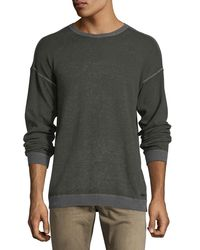 John Varvatos - Gray Rib-trimmed Reverse-printed Sweater for Men - Lyst