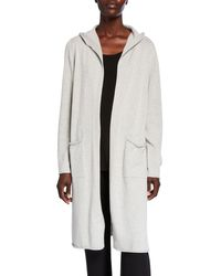 Eileen Fisher White Hooded Peruvian Organic Cotton Long Cardigan