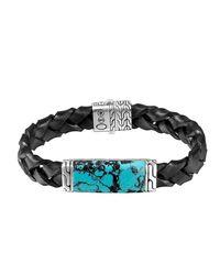 John Hardy - Blue Woven Station And Turquoise Stone Bracelet for Men - Lyst