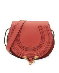 Chloé - Red Marcie Small Leather Crossbody Bag - Lyst