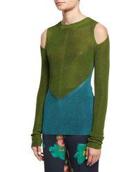 Etro - Blue Bicolor Cold-shoulder Sweater - Lyst