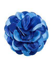Hook + Albert Blue Floral Lapel Pin - Foxhound for men