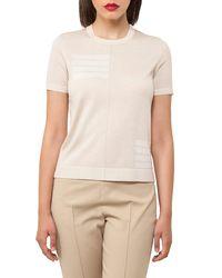 Akris - Natural Knit Stripe-trim Short-sleeve Sweater - Lyst