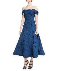 ML Monique Lhuillier Blue Off-the-shoulder Leaf Jacquard Midi Dress