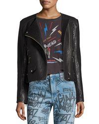 Étoile Isabel Marant Black Kankara Textured Leather Jacket