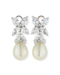 Fantasia by Deserio Metallic Flower Top Cz & Simulated Pearl Drop Earrings
