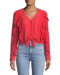 Bardot Red Dobby Tie-front Frill Top