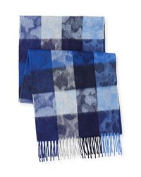Begg & Co - Blue Box-check Camo Lambswool-angora Scarf for Men - Lyst