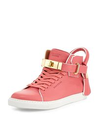Buscemi Pink Leather High-top Sneaker With Rolled Strap