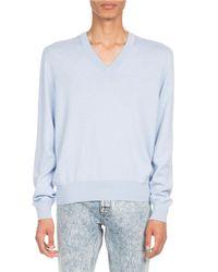 Maison Margiela Blue Elbow-patch V-neck Sweater for men