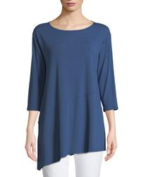 Eileen Fisher - Blue Viscose Jersey Asymmetric Top - Lyst