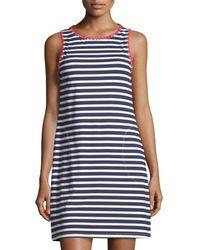 Tommy Bahama Blue Breton Striped Crewneck Coverup Tank Dress