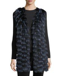 Neiman Marcus - Black Luxury Cashmere Vest W/ Fox Fur Front & Sequin-trim Back - Lyst