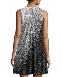 Carmen Marc Valvo - Black Sleeveless Ombre Sequined Swing Dress - Lyst