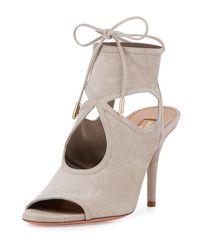 Aquazzura | Gray Sexy Thing Suede 85mm Sandal | Lyst
