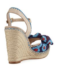 Kate Spade | Blue Jane Floral Wedge Espadrille Sandal | Lyst