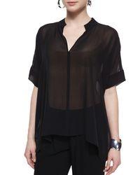 Eileen Fisher - Black 3/4-sleeve Silk Box Top - Lyst