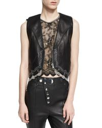 Alexander Wang - Black Chain-trim Leather Western Vest - Lyst