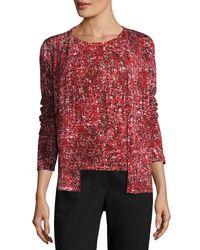 ESCADA - Red Tweed-print Cashmere Cardigan - Lyst