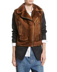 Brunello Cucinelli Brown Mink Fur Moto Vest