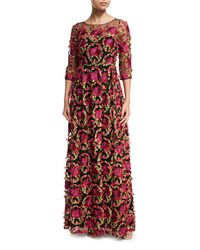 Notte by Marchesa - 3/4-sleeve Floral-embroidered Gown - Lyst