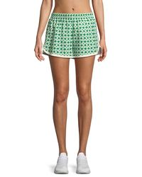Tory Sport Green Printed Pull-on Running Shorts