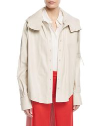 Valentino - White Napa Leather Button-down Hooded Anorak Jacket - Lyst