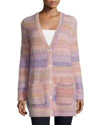 Michael Kors - Purple Long Shaker-knit Cardigan - Lyst