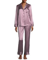 Neiman Marcus - Multicolor Silk Satin Two-piece Pajama Set - Lyst