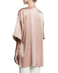 Halston Heritage - Natural Satin Kimono Wrap Jacket W/ Topstitched Sash - Lyst