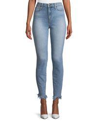 Joe's Jeans Blue Charlie High-rise Skinny Jeans W/ Frayed Hem