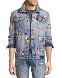 PRPS Blue Multicolored Painted Denim Jacket for men
