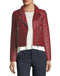Isabel Marant - Red Heaton Raffia Jacquard Moto Jacket - Lyst