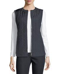 Lafayette 148 New York Blue Bailey Alpine Outerwear Vest