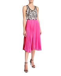Loyd/Ford Pink Mixed Silk Pleated Tank Dress