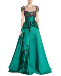 Marchesa notte - Green 3d Floral Embroidered Ball Gown W/ Cascade - Lyst