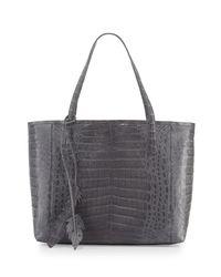Nancy Gonzalez - Gray Erica New Crocodile Leaf Tote Bag - Lyst