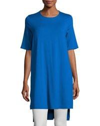 Eileen Fisher - Blue Short-sleeve Jersey Tunic - Lyst
