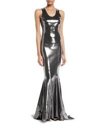 Norma Kamali Metallic Racerback Fishtail Gown