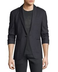 John Varvatos - Blue Satin Shawl-collar Blazer for Men - Lyst