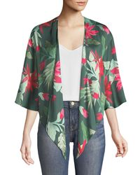Lovers + Friends Green Dino Floral-print Open-front Kimono Top