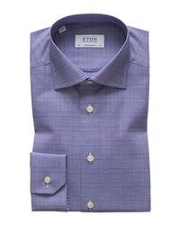 Eton of Sweden Blue Men's Windowpane Contemporary Fit Dress Shirt for men