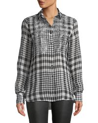 Ermanno Scervino Black Long-sleeve Checked Button-front Linen Blouse W/ Crystal Fringe Bib