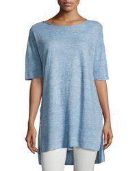 Eileen Fisher - Blue Lightweight Linen Melange Tunic - Lyst