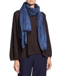 Eileen Fisher Blue Handloomed Shibori Organic Cotton/silk Scarf